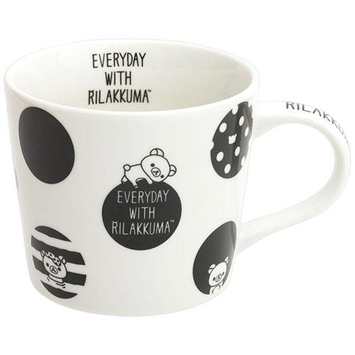 リラックマ モノクロリラックマテーマシリーズ マグカップ(水玉)